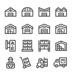 warehouse line icon set vector image