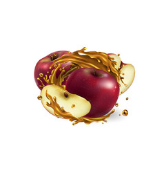 Whole and sliced red apples in a juice splash vector