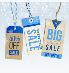 Winter sale realistic tags on background vector