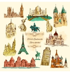 world landmarks sketch vintage icons set vector image