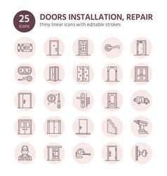 doors installation repair line icons various vector image vector image