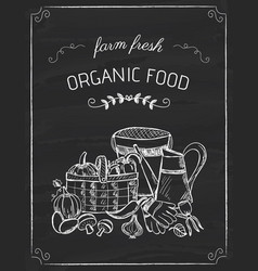 Organic food doodle on the black board vector