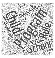 After school programs and discipline word cloud vector