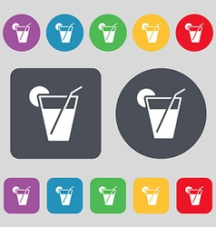 cocktail icon sign A set of 12 colored buttons vector image