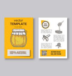 hand drawn honey flayer templates vector image