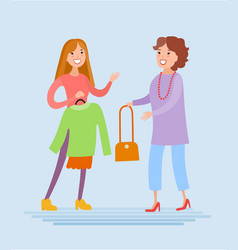 Mother and daughter are shopping vector