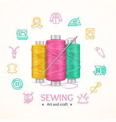sewing and needlework tools concept vector image vector image