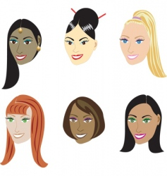 straight hairstyles vector image vector image