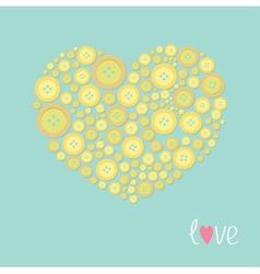 Yellow heart made from buttons love card flat desi vector