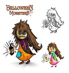 Halloween monsters scary cartoon dirty witch EPS10 vector image