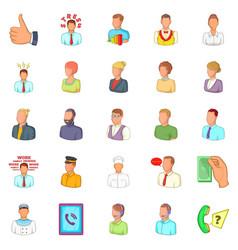 Hand icons set cartoon style vector