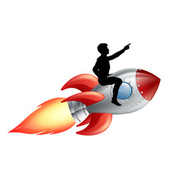 businessman riding rocket ship vector image