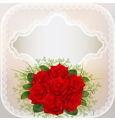 card with red roses and lace vector image