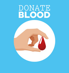 Donate blood hand with drop vector