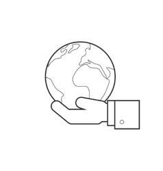 Hand holding globe line icon vector image