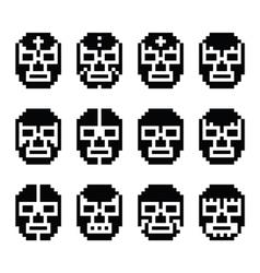 Lucha Libre luchador pixelated Mexican mask vector image