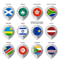 Marker from paper with flag for map - set tenth vector image vector image