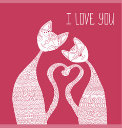 two cats in love antistress coloring book hand vector image vector image