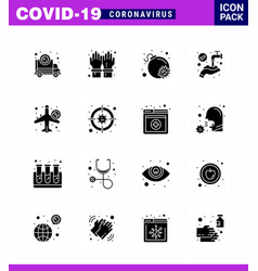 16 solid glyph black coronavirus epidemic icon vector