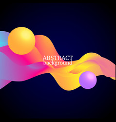 3 d balls and colorful waves vector