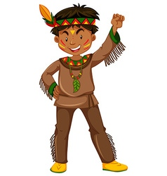 American indian boy in traditional clothes vector