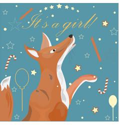 Baby girl birth announcement cute fox announces vector