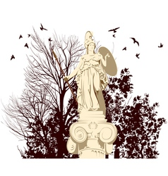 Beauty athena statue vector