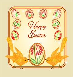 Birds and easter eggs place for text vector