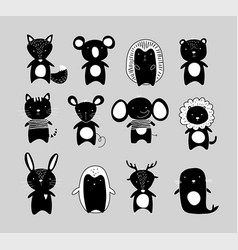 black and white silhouettes cute animals vector image