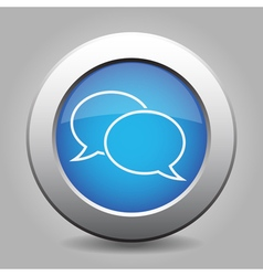 Blue metallic button white speech bubbles icon vector