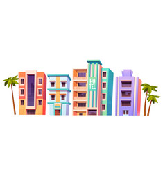buildings modern hotels in miami at summer time vector image