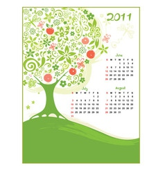 calendar summer vector image