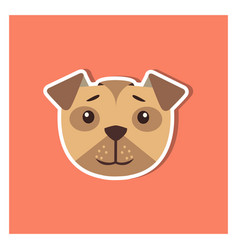 Canine head of boxer dog cartoon icon close-up vector
