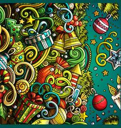 cartoon cute doodles happy new year frame vector image