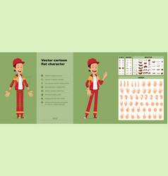 Cartoon funny sportsman character big set vector