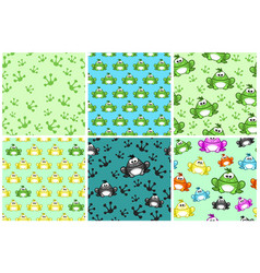 Cartoon seamless pattern from frogs different vector