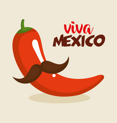 chillipepper with mustache character mexican vector image