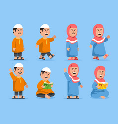 chubboy and girl moslem character set vector image
