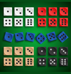 Collection colored playing dice design template vector