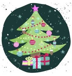 Colorful Christmas poster with cute cartoon tree vector