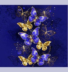 Composition with sapphire butterflies vector