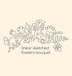 Continuous lines flowers composition vector
