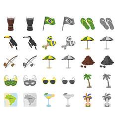 Country brazil cartoonmonochrom icons in set vector