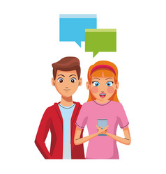 Couple texting with smartphone vector