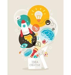 Creative idea think out box vector