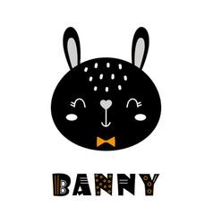 Cute cartoon bunny face on white scandinavian vector
