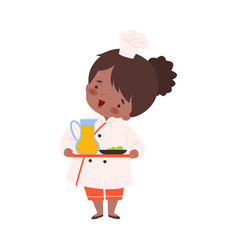 Cute girl holding tray with jug juice cute vector