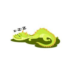cute green dragon sleeping on grass fantastic vector image