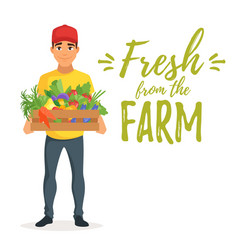 Delivery man with vegetables vector