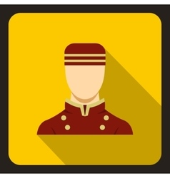 Doorman in red uniform icon flat style vector